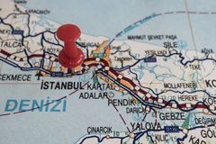 Destination port on map of turkey country. Close up destination port on map of turkey country stock images