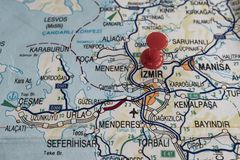 Destination port on map of turkey country. Close up destination port on map of turkey country stock photos