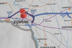 Destination port on map of turkey country. Close up destination port on map of turkey country stock photography