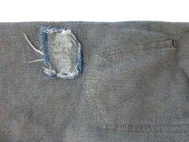 Close up of destroyed torn denim blue jeans patch Royalty Free Stock Photography