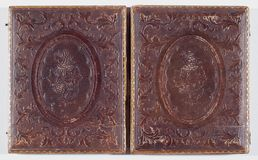 Detail of historic Daguerreotype case Royalty Free Stock Image