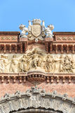 Close up of detail Arc de Triomf in Barcelona Stock Photos