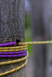 Close up detail arrangement with pillars and stretched wire 3 Royalty Free Stock Photography
