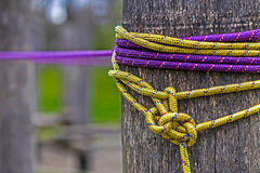 Close up detail arrangement with pillars and stretched wire 1 Royalty Free Stock Photography