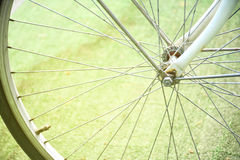 Close up detail of bicycle spoke. Stock Photo