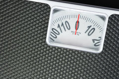 Close up detail black weight scale. Royalty Free Stock Photos