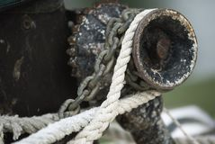 Close Up Detail Of Boat Rope Winch.  stock image
