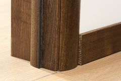 Close-up detail of brown wooden door.  Royalty Free Stock Image