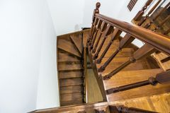 Close-up detail of brown wooden stairs.  Royalty Free Stock Photo
