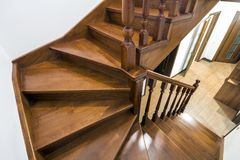 Close-up detail of brown wooden stairs.  Stock Images
