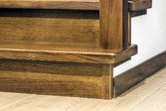 Close-up detail of brown wooden stairs.  Royalty Free Stock Images