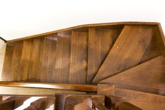 Close-up detail of brown wooden stairs.  Royalty Free Stock Photography