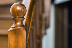 Close-up detail of brown wooden stairs.  Royalty Free Stock Photos