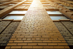 Close up detail of building with red brick wall Stock Photography