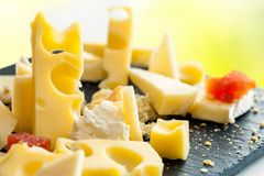 Close up detail of cheese platter. Stock Images
