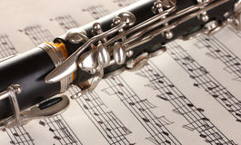 Close up detail of clarinet and notebook Stock Photography
