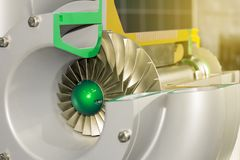 Close up detail cross section impeller inside of electric centrifugal pump or blower for industrial stock photos