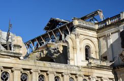Close-up detail of the damaged Christchurch Catholic Cathedral r royalty free stock images