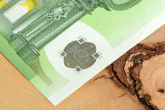 Close up detail of euro money banknotes Stock Photography