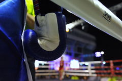 Amateur Muaythai World Championships. Close-up detail of a fighter's glove during a match in the Amateur Muaythai World Championships at the Thai National royalty free stock image