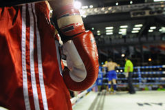 Muaythai World Championships. Close-up detail of a fighter's glove during a match in the WMF Muaythai World Championships at the Thai National Stadium on March royalty free stock images