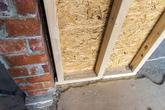 Close up detail of house construction wooden wall elements. Inte Stock Photos