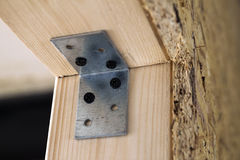 Close up detail of house construction wooden wall elements. Inte Royalty Free Stock Photos