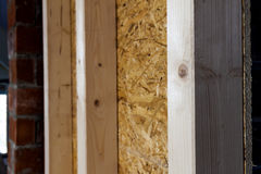 Close up detail of house construction wooden wall elements. Inte Royalty Free Stock Image