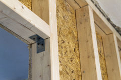 Close up detail of house construction wooden wall elements. Interior frame renovation work stock images