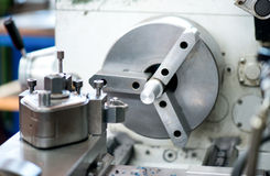 Close up detail of an industrial lathe Royalty Free Stock Photo