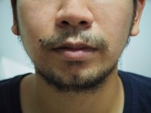 Close up detail of male mouth have beard and mustache stock images