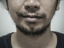 Close up detail of male mouth have beard and mustache , monochrome tone.  royalty free stock photography
