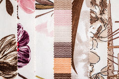 Close Up Detail of Multi Color Fabric Texture Samples Royalty Free Stock Photo
