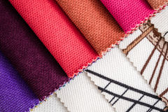 Close Up Detail of Multi Color Fabric Texture Samples Royalty Free Stock Photography