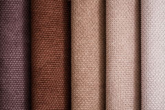 Close Up Detail of Multi Color Fabric Texture Samples Royalty Free Stock Photos