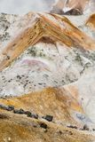 Close up detail of Noboribetsu Jigokudani Hell Valley: The volcano valley got its name from the sulfuric smell. Stock Photo