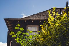 Close up detail of an old english cottage with some plants in th royalty free stock photos