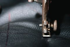 Close up Detail of old sewing machine with a low depth of field, traditional, autentic sewing stock photos