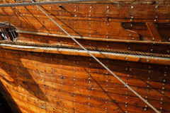 A close up detail of an old wooden Dhow boat Stock Photos