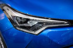 Close up of detail on one of the LED headlights modern and luxury car. stock image