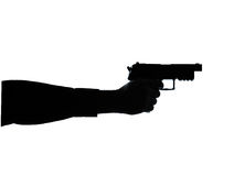Close up detail one man hand gun  silhouette Royalty Free Stock Photography