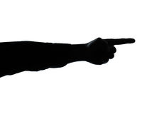 Close up detail one man hand pointing  silhouette Stock Photography