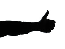 Close up detail one man hand silhouette Royalty Free Stock Images