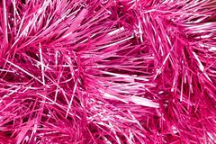 Pink and silver tinsel Christmas background vector illustration