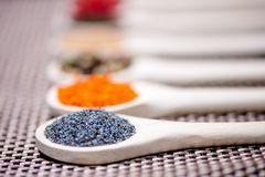 Close up detail of poppy seeds on ingredient mix Royalty Free Stock Photography