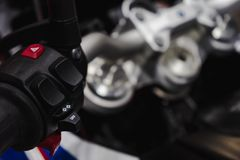 Close up detail of racing motorcycle handlebar. Selective focus for background. Motorsport background concept. Abs art backdrop beautiful bike biker black brake stock photo