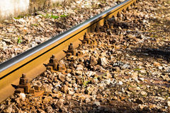 Close up detail of a rail track Stock Photo