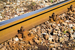 Close up detail of a rail track Stock Photos