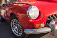Close up detail of a red vintage car Royalty Free Stock Image
