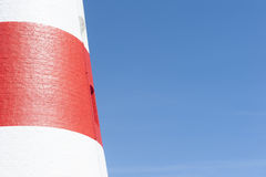 Close up detail red white lighthouse Royalty Free Stock Image